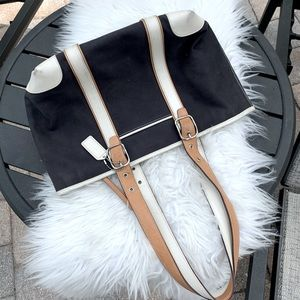 Coach Black Cotton Leather Handle Small Tote Bag!